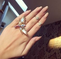 Oval nails nude statement ring butterfly gorgeous
