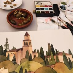 Eating, drinking and painting outside in andalusia. Not easy to find time doing my #inktober pieces while travelig through the country. But tomorow we will spend few more days at the atlantic coast...hope to found some more painting time there. Early progress without ink lines yet. . . #inktober2017 #watercolors #Watercolor #aquarell #aquarella #granada #alhambra #painting #sketching #sketchbook #sketch #wip #workinprogess #trees #spain #andalusia #traveling #illustrator #illustration…
