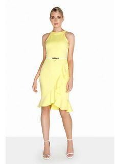 5855e8d12aa1e   Robe portefeuille jaune citron à col montant Paper Dolls - Robes -  Vêtements -. dorothyperkins.fr