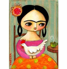 FRIDA kahlo and chicken PRINT from original folk art painting by tascha via Etsy