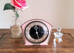 Pink Metamec Clock 1950s Mid Century Modern Alarm Clock Electric Mantle Bedroom Ananlogue Retro Clock MCM Plastic Surround Unusual Timepiece
