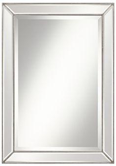 Roseau Silver Pewter 24x34 Beaded Mirror