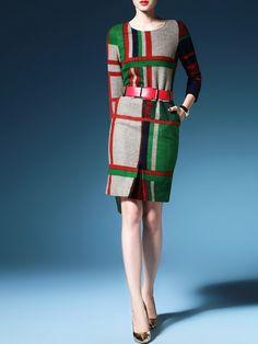 Printed Wool-Like Midi Dress