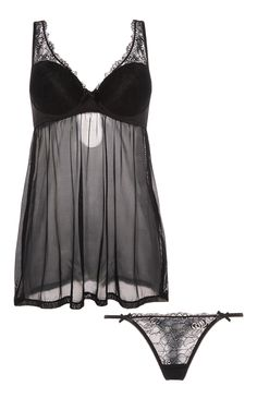 Primark - Black Lace Babydoll And Thong Set
