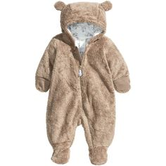 H&M Pile Snuggle Suit $12.99 ($13) ❤ liked on Polyvore featuring baby, baby boy and kids