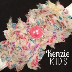 Double Flower Headband with Large Bling by Kenzie Kids Boutique (floral)