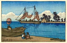 hanga gallery . . . torii gallery: Children and boat by Kawase Hasui