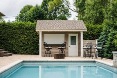Poolside retreat at our South Burlington construction  and design project