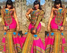 Dashiki skirt set african dashiki dress mermaid by DEAFRICANSHOP