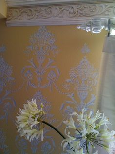 better than wall paper...stencils from royal design....http://bloggingfromstudio887.com/news/ Love Royal Desing stencils. High quality and fabulous designs.