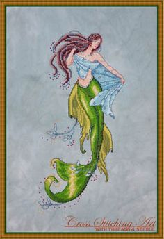 Cross Stitching Art Siren of the Deep, The - Cross Stitch Pattern. Model stitched on 32 Ct. Meadow Mist Belfast linen with DMC floss, Kreinik #4 Braid, and Mill