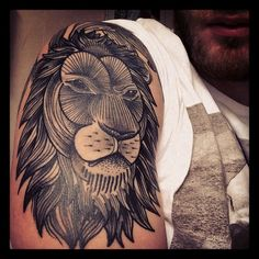 Cool lion tattoo. Sadly, nothing about the artists. TattooStage.com - Rate & Review your tattoo artist and his studio. #tattoo #tattoos #ink