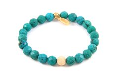 Turquoise Stone Elastic Bracelet with Gold Dusted Bead Gemstone Bracelets, Handmade Bracelets, Handmade Jewelry, Diy Jewelry, Turquoise Jewelry, Turquoise Bracelet, Turquoise Stone, Jewelry Making Beads, Charm Jewelry