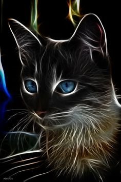 cat by Viktor Korostynski Another stunning animal-fractal art piece. The blue eyes contrast so neatly with the face. I love cats and I love this art! I Love Cats, Crazy Cats, Cool Cats, Art Fractal, Airbrush Art, Tier Fotos, Cat Drawing, Beautiful Cats, Beautiful Artwork