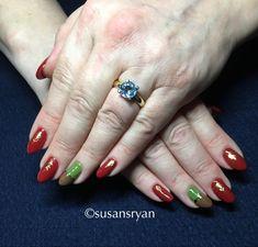 Gel nails - dark red autumn