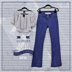 Top cropped + flare pants. Alto Verão 2016.