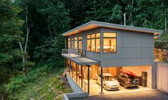 Passive solar residence in Asheville, North Carolina. Steep slope house. Shed roof house. Modern House design.