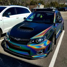 #subaru #wrx #sti #vinylwrap #3mpsychedelic #rainbow #holographic Tuner Cars, Jdm Cars, Cars Auto, Subaru Impreza, Wrx Sti, Wrx Wagon, Subaru Cars, Car Mods, Sweet Cars