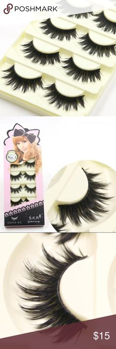 5 pairs long soft black false eye lashes 😉 High quality for casual and party makeup 😉 soft and comfortable to wear. 5 pairs ❗️❕ Makeup False Eyelashes