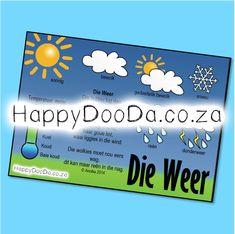 'n Tema muurkaart – Die weer. Hierdie produk is in Afrikaans vir leerders 4-13 jaar. Home Schooling, Afrikaans, Hdd, Homeschool, Words, Afrikaans Language, Homeschooling