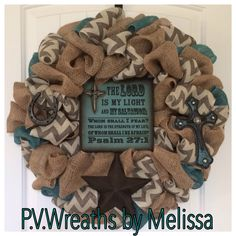 The Lord is my light wreath - Burlap wreath - mixed burlap wreath - Chevron burlap - Texas wreath - Western decor - Cross wreath by PVwreathsByMelissa on Etsy https://www.etsy.com/listing/194221387/the-lord-is-my-light-wreath-burlap
