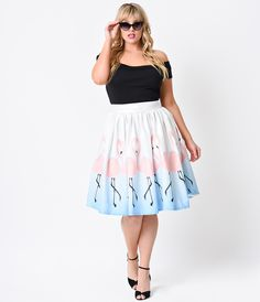 Hell Bunny Plus Size 1950s Rockabilly High Waist Peacock Tiki Circle Skirt | Unique Vintage