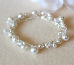 Wedding crystal pearl jewelry Bridal Cluster Bracelet white or Cream Swarovski Pearls Crystals sterling silver heart chain bracelet by DreamIslandJewellery on Etsy