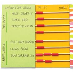 """Make a Job Chart.  Bamboo skewers and straws.  I like how it is reusable and you can """"reset"""" it quickly.  Also, a good way to reuse straws (even if it is just 1 or 2) (familyfun.com)"""