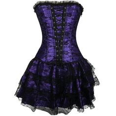 Women's Overbust Corset Lace up Bustier with Skirt S-2XL 4 Colors: Amazon.co.uk: Clothing