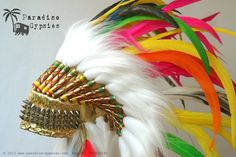 Full Colour Rainbow Feather Headdress On Sparkly Gold Leather Pink Yellow Green Royal Blue White, Punk Silver Stud by Paradise Gypsies on Etsy, $175.00