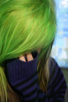 green hair dye | Amazing super bright green hair color.