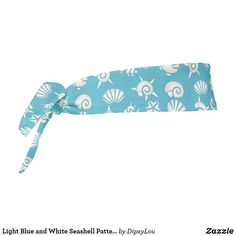 Shop Light Blue and White Seashell Pattern Tie Headband created by DipsyLou.