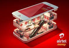 Airtel Money on Beha. Funny Advertising, Creative Advertising, Advertising Design, Typo Logo Design, Ad Design, Freelance Graphic Design, Graphic Design Art, Isometric Design, Social Media Design