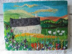 Beautiful Felt Picture with Embroidered House and Garden with Cat in by Sue Forey fibre art, £48.00