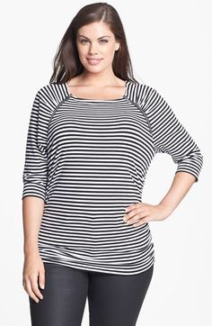 MICHAEL Michael Kors Zip Trim Ruched Top (Plus Size) | Nordstrom