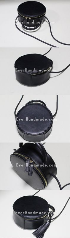 Handmade Leather round bag shoulder bag black for women leather crossbody