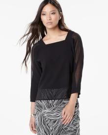 Dolman sleeve blouse with V back