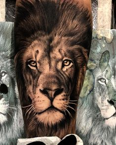 Lion tattoos hold different meanings. Lions are known to be proud and courageous creatures. So if you feel that you carry those same qualities in you, a lion tattoo would be an excellent match Lion Leg Tattoo, Lion Forearm Tattoos, Lion Tattoo Sleeves, Lion Head Tattoos, Lion Tattoo Design, Leo Tattoos, Bild Tattoos, Animal Tattoos, Lion Design