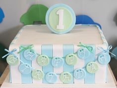 Baby Boy cake. Just do color on the sides and leave top blank for name and age.