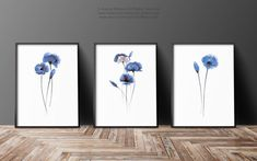 Sapphire Blue poppies Set of 3 Watercolor Painting, Mother's Day Gift Ideas Abstract flowers, Poppy Flower Giclee Art Print, Navy Home Decor