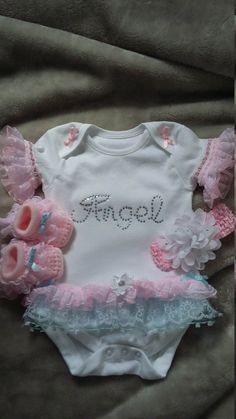 Romany Bling Unique Baby/' Lace Frill Diamante Sleepsuit Babygrow