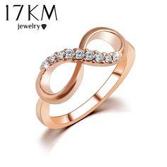 17 KM Neue Heiße Beste Qualität Mode Alloy Rose Gold Farbe Schmuck Zirkon Ring Unendlichkeit Kristall Ringe Für Frauen Beste geschenk