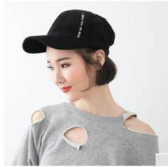 Letter embroidered baseball cap for women warm corduroy hat