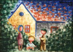 Josef Čapek 1931 Children and a house JC Cubism Art, Siena, Modern Art, Illustration, Painting, Image, Design, Pastel, Houses