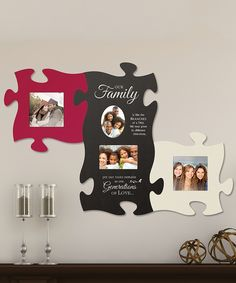 idea for Christmas party- paint puzzle pieces (use kids puzzles) kids glue to paper, add stickers, family names and put the Grevstad family in the center piece