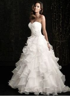 Ball-Gown Strapless Sweetheart Chapel Train Organza Wedding Dress With Lace Beading Cascading Ruffles