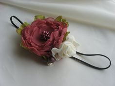 Dark pink and Ivory Bridal Hair ClipBaby Girl by MyFlowerWorld, $19.50
