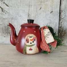 Primitive Snowman on Vintage Toy Tea Pot Country by FlatHillGoods Christmas Tea, Country Christmas, Christmas Snowman, Vintage Christmas, Christmas Ornaments, Christmas Things, Primitive Snowmen, Primitive Crafts, Primitive Christmas