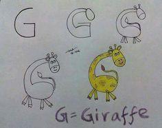 Lettre G dessin girafe