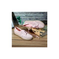Lace Up Hollow Out Beach Sandals Flat Casual Shoes (945 INR) ❤ liked on Polyvore featuring shoes, sandals, pink, low heel sandals, pink flat sandals, summer shoes, summer flat sandals and lace up flat sandals